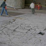 Extent of damaged concrete exposed after surface preperation, and thorough cleaning.
