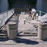 Dangerous delaminated concrete bridge